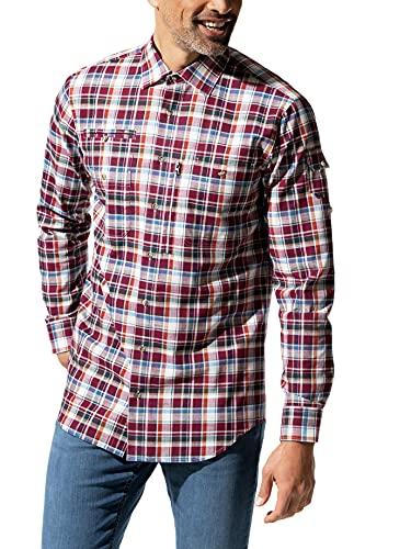 Walbusch Herren Hemd 10 Taschen Safarihemd kariert Karo Beere 43-44 - Langarm