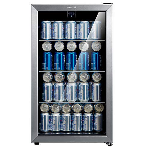 Comfee 115-120 Can Beverage Cooler/Refrigerator, 115 cans capacity, mechanical control, glass door with stainless steel…