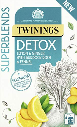 Twinings Detox 20 Tea Bags – Selenium contributes to the protection of cells. The fennel in this blend has a slight sweetness. Smooth lemon flavour. The ginger is gentle and warming–Pack of 4