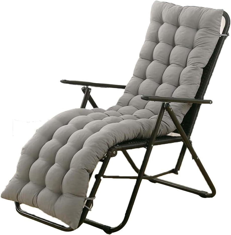 Sun Lounger Chair Cushions,61-inch Lounge Chaise Cushion Sun Lounger Mattress with Non-Slip Back Elastic Sleeve for Garden Outdoor/Indoor/Sofa/Tatami/Car Seat/Bench (Grey)