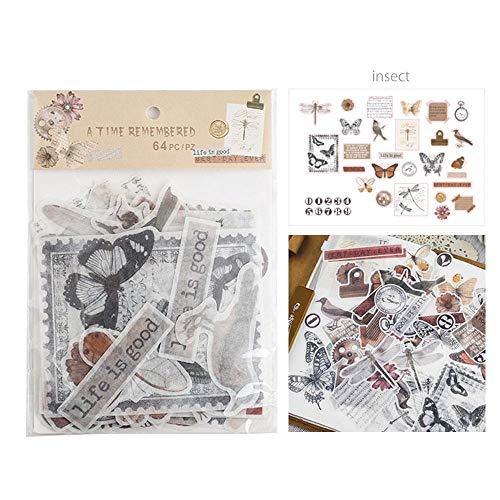 64 formas troqueladas Ephemera vintage Foonee, etiquetas autoadhesivas estilo clásico, pegatinas para manualidades, álbumes de recortes, cartas, cuadernos, decoración de fotos o tazas