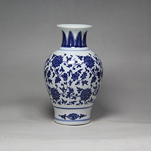 Vase chinois en porcelaine bleu et blanc pour fleurs