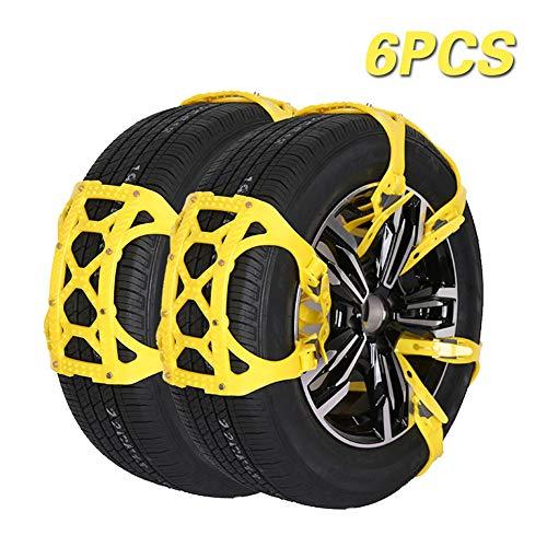Universal Schneeketten, 6PCS Winter Ketten für Notfälle Reifenbreite 165mm-285mm, Rutschfestes 3D-Partikeldesign, Starke Ketten für die Meisten Autos