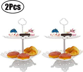 Set of 2 Pcs 2-Tier Dessert Stand with Base Heart Shaped White Cupcake Fruits Holder for Wedding Birthday Party Fruits Desserts Candy Bar Display