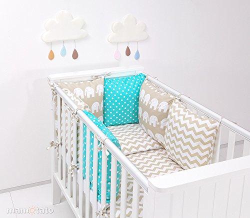 Parure de lit bébé 17 pièces beige et turquoise 60x120 avec tour de lit modulable