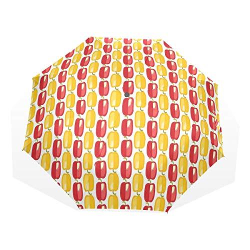 LASINSU Regenschirm,Bulgarisches Gemüsemuster im Doodle Art Landwirtschafts Farm Design,Faltbar Kompakt Sonnenschirm UV Schutz Winddicht Regenschirm