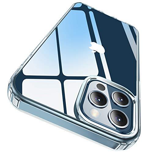 Elando Klare Hülle Kompatibel mit iPhone 12 und iPhone 12 Pro, Vergilbungsfrei, Stoßfestigkeit Kratzfeste und transparente Schutzhülle - Crystal Clear