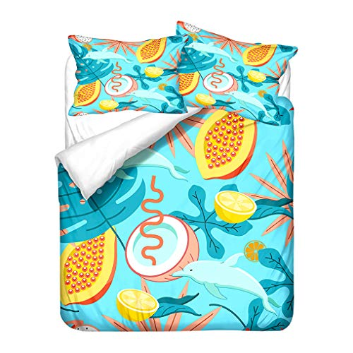 HNHDDZ Tropical Fruit Plant Leaves Floral Bedding set Lemon Coconut Orange Pineapple Duvet Cover Pillowcase Blue Green Black Microfiber Zipper GirlS (Style 1, King 220x240 cm)