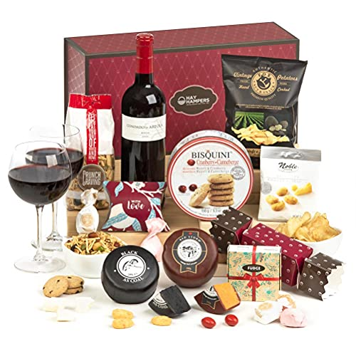 Hay Hampers: The Ruby - Red Wine & Cheeses with Sweet and Savoury Snacks Hamper Gift for Him or Her FREE UK Delivery