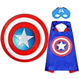 Superhero Toy Captain America 12' Shield and Superhero Cape Set Superhero Dress up toys Suit for 4-10 Year Kids Boy Role Play Toy