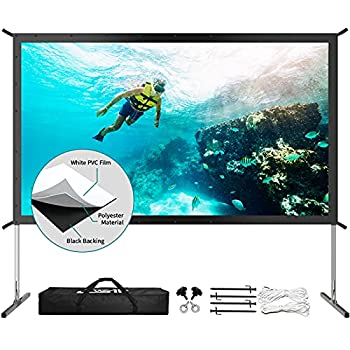 Projector Screen with Stand Upgraded 3 Layers PVC 120 inch 4K HD 16 9 Outdoor/Indoor Portable Front Projection Screen Foldable Video Projection Screen with Carry Bag for Home Theater Backyard Movie