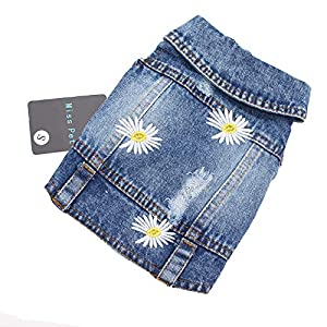 Pet Clothes Denim Dog Costume Summer Cowboy Vest Daisy Shirt Jeans Jacket Puppy Clothing for Chihuahua Yorkies