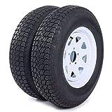 Roadstar 2 of 205 75 15 Trailer Tires and Rims ST205/75D15 6 PR Mounted 5 lugs (5x4.5') Center Hoke, White Spoke Wheel