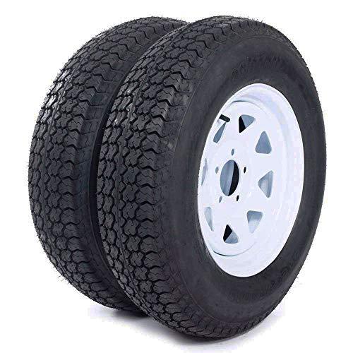 """Roadstar 2 of 205 75 15 Trailer Tires and Rims ST205/75D15 6 PR Mounted 5 lugs (5x4.5"""") Center Hoke, White Spoke Wheel"""