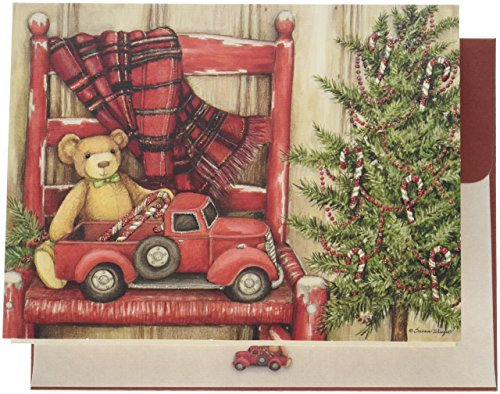 """LANG -""""Bear in Chair"""", Boxed Christmas Cards, Artwork by Susan Winget"""" - 18 Cards, 19 envelopes - 5.375"""" x 6.875"""""""