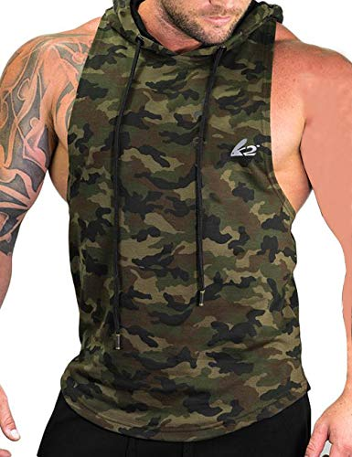 PAIZH Mens Longline Pullover Hoodie Sleeveless Hip Hop Workout Hooded Tank Top Camo