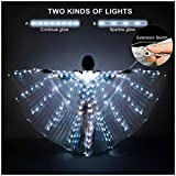 iMucci LED Lights Belly Dance Isis Wings - Bellydance Glow Angel dance Wings with Telescopic Sticks Flexible Rods for Adults and Child White