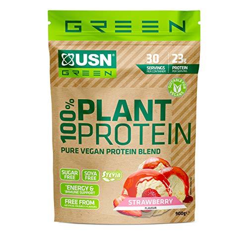 USN 100% Pure Plant Protein Powder Strawberry, Easy Digest Vegan Protein, Sugar & Soy Free