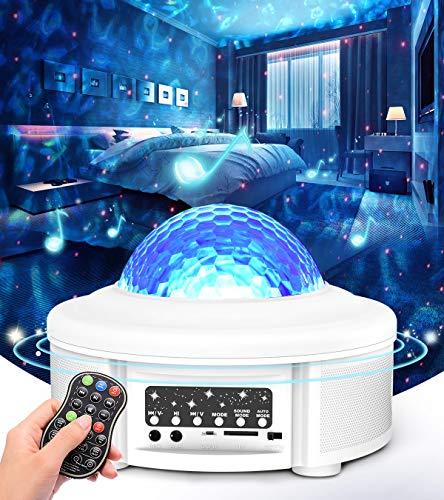 Tesoky Sternenhimmel Projektor,Rotierende Wasserwellen Projektionslampe LED Starry Projector Light mit Ferngesteuerte/Bluetooth/Lautspreche/Klingt Sensor,Nachtlicht für Party und Zimmer Dekoration