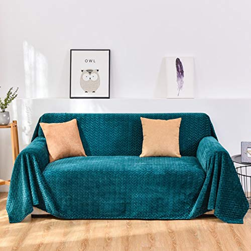 NOBCE Elastic Stretch Sofa Cover 1/2/3/4 Seater Sof Slipcover Couch Covers For Universal Sofas Livingroom Sectional L Shaped Slipcover Green 200X300CM