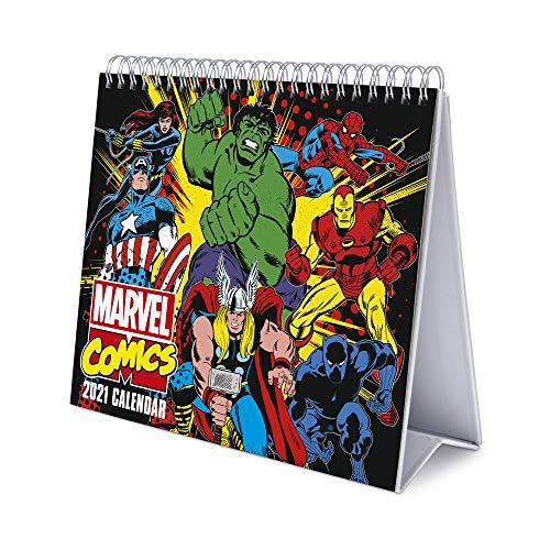 Erik® Calendrier Mensuel 2021 Marvel Comics | Calendrier de Bureau 12 Mois | Avec des Espaces pour Écrire | De Janvier à Décembre 2021