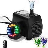 Funcbien - Mini bomba de agua sumergible con 12 luces de color LED de 10 W, ultrasilenciosa, 800 l/h, bomba de fuente de acuario para terrarios, depósito de peces, sistemas de circulación, estanque