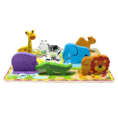 Lewo Wooden Puzzle Animal Chunky Puzzle Preschool Learning Educational Toys For Toddle Kids (7 pcs)