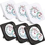 Weewooday 6 Pieces Mini Indoor Thermometer Hygrometer Digital Hygrometer Humidity Gauge Indicator Temperature Humidity Accurate Monitor for Home, Patio, Planting Room, Black, White, No Battery Needed