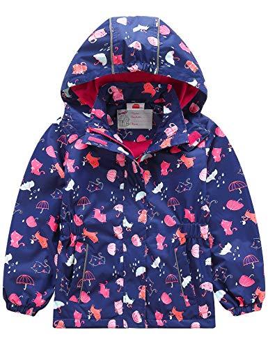 Echinodon Mädchen Gefütterte Outdoorjacke Wasserdicht/Winddicht/Warm Regenjacke Funktionsjacke Kinder Wanderjacke Jacke Blau