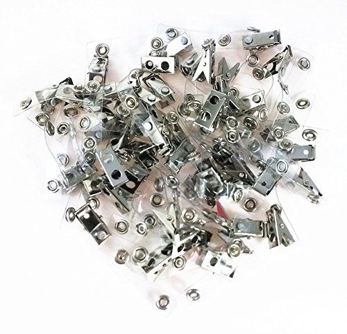 EBDcom Metal Badge Clips with Clear Vinyl Straps,ID Badge Clips,Double Hole,Clear,100 Clips per Pack (Clear 100pcs)