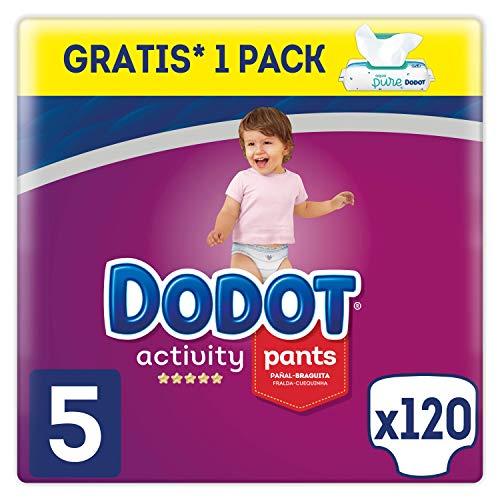 Dodot Activity Pants Windelhöschen, Größe 5, 120 Windeln + Aqua Pure, 48 Tücher gratis