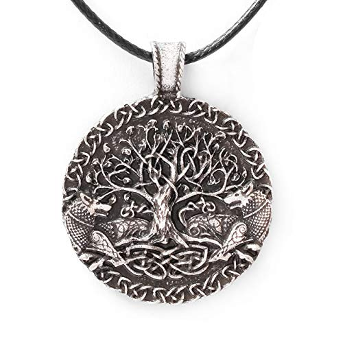 HAQUIL Viking Necklace, Odin Wolves Ravens Tree of Life Pendant, Faux Leather Cord, Viking Jewelry Gift