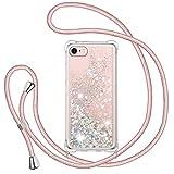 TUUT Funda Glitter Liquida con Cuerda para iPhone 7/8/SE 2020, Glitter Cristal Suave Silicona TPU Bumper Protector Carcasa, Brillante Arena Movediza con Colgante Ajustable Cordón Case -Oro Rosa
