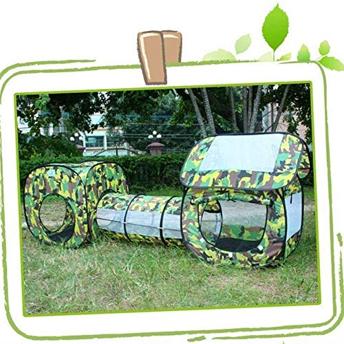 ZHOUYANG Children's tent Outdoor Camouflage Shuttle Tunnel Tent for child Kids Waterproof Playhouse Tent with 2 Rooms 1 Tunnel Children's Gift Toy Portable game tent