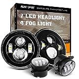 SUNPIE Round 7 inch LED Headlights(BUILT IN LED CANBUS) + 4 inch LED Fog Lights for J eep Wrangler...