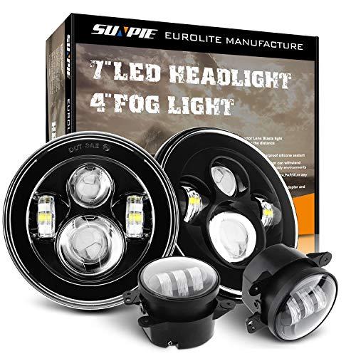SUNPIE Round 7 inch LED Headlights(BUILT IN LED CANBUS) + 4 inch LED Fog Lights for J eep Wrangler JK TJ LJ 1997-2017
