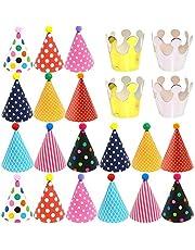 22 PCS Gorros de Fiesta Sombreros Cumpleaños Fiesta con Pompones,Decoración Colorido Party Celebrar para Niños Adultos,Fun Birthday Party Sombreros