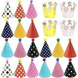 TNMV 22PCS Cappelli Compleanno,Cappello da Festa di Compleanno,Cappello da Festa Cake Birthday Party Cono Cappelli di Carta con Disegni Colorati Cappello Compleanno in Carta