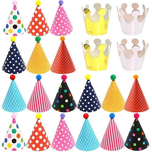 TNMV 22PCS Partyhüte Geburtstag Hüte Kronen Set Party Kegel Hüte mit Pom Poms,Schöne Kuchen Kegel Geburtstag Papier Hüte, Party Kegel Hüte mit Pom Poms(12*26cm)