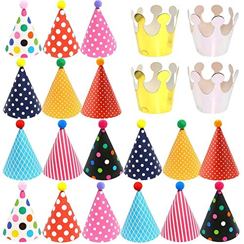 22 PCS Gorros de Fiesta Sombreros Cumpleaños Fiesta con Pompones,Decoración Colorido Party...