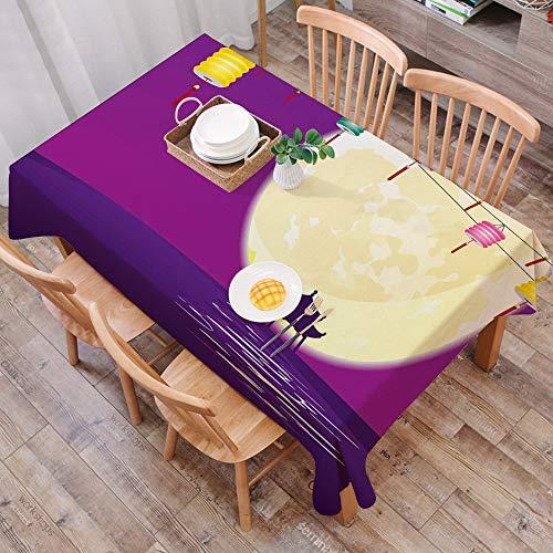 Tischdecke abwaschbar 140x200 cm,Laterne, Pavillon im chinesischen Stil in der Vollmondnacht zur Feier des Mid Autumn Festivals, gra,Ölfeste Tischdecke, geeignet für die Dekoration von Küchen zu Hause