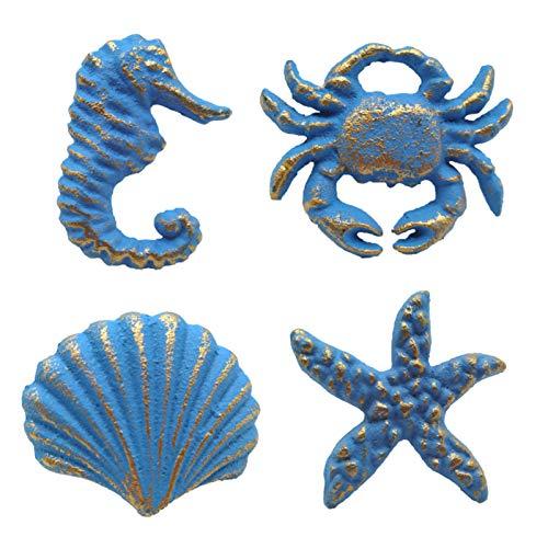 Joyindecor Ocean Cabinet Knobs for Dresser Cupboard Wardrobe Kitchen, Distressed Cast Iron Beach Theme Drawer Pulls Handles, Seahorse, Starfish, Seashell and Crab, Pack of 4 (Blue)