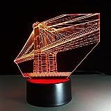 Lampe 3D,Acrylique Creative Nightlight Bridge Led Lampe 3D 7 Changement De Couleur...