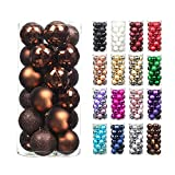 24pcs 2.36in 60mm Christmas Decoration Balls Shatterproof Color Set Ornaments Balls for Festival Wedding Home Party Decors Xmas Tree Hanging (Coffee)