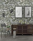 Papel pintado decorativo piedra Papel Pintado 0,53 x 10 m efecto 3D Adhesivo Pared Papel Pintado No Autoadhesivo Grueso PVC efecto de piedra para dormitorio armarios,Cian