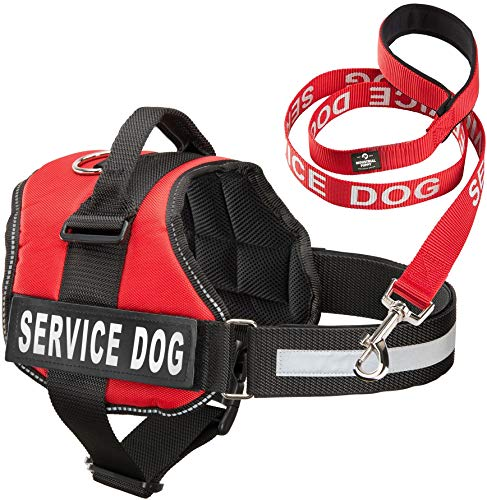 Service Dog Vest With Hook and Loop Straps & Matching Service Dog Leash Set - Harnesses From XXS to XXL - Service Dog Harness Features Reflective Patch and Comfortable Mesh Design (Red, Small)
