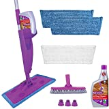 Rejuvenate Click N Clean Multi-Surface Spray Mop System Complete Bundle Includes Free Click-On Pro Grade Grout Brush 1 x 32oz No-Bucket Floor Cleaner (bundle with 3 reusable microfiber pads)