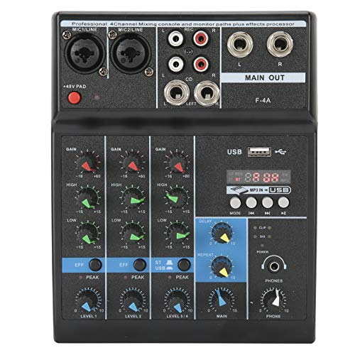 Wosune Mezclador de Audio, tamaño Compacto Mezclador de 4 Canales Ligero Plug and Play de 25 W para producción de música en casa para K Song(European regulations)