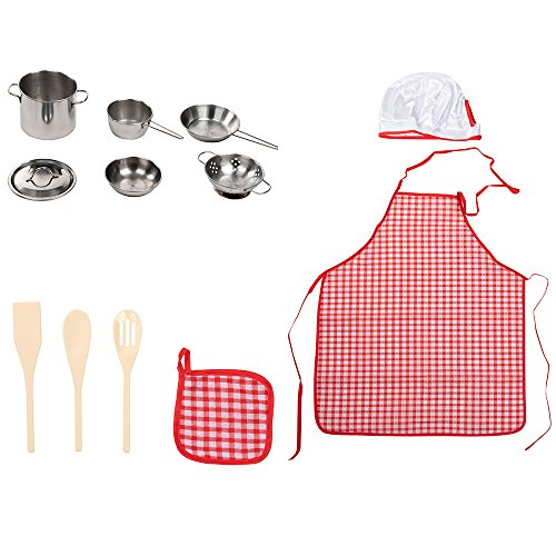 12-Piece Pretend Play Kitchen Toy Set - Kids Cookware for Pretend Play Cooking, 100% BPA-Free, Includes Cooking Wear, Small-Sized Stainless Steel Pots, Pans, Christmas, Secret Santa Gift Ideas