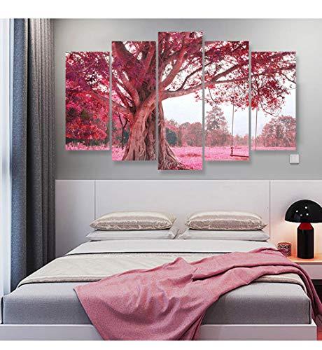 YDGG 5 stuks plaatsen bos fantastische schommel op boom canvas schilderij muurkunst afbeelding druk poster woonkamer wooncultuur 40x60 40x80 40x100cm zonder lijst